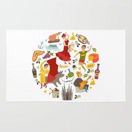 Spain, touristic symbols vector. Colorfull hand drawn illustration Rug