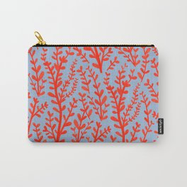 Pale Blue and Red Leaves Hand-Painted Pattern Carry-All Pouch
