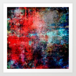 Modern Contemporary Red Abstract IntoDarkness Design Art Print