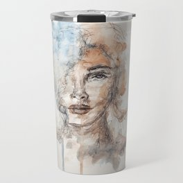 Watercolor Portrait Travel Mug