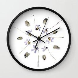wildflower mandala... purple violets, guinea fowl feathers Wall Clock