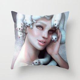 Ferret Medusa Throw Pillow
