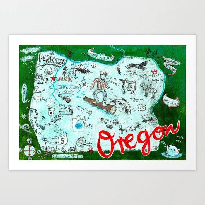 Map of Oregon Art Print
