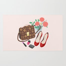 Classic Friday Night, bag, shoes, flower, make up, lipstick art print, girly illustration Rug