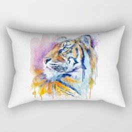 Young Tiger Watercolor Portrait Rectangular Pillow
