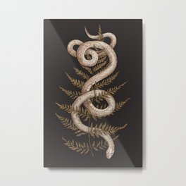 The Snake and Fern Metal Print