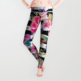 Cute spring floral and stripes watercolor pattern Leggings
