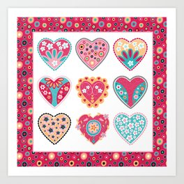 Bollywood Hearts Art Print