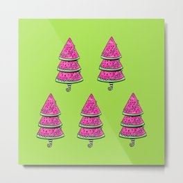 Aussie Xmas Design on Lime Green #1 Watermelon Trees x 4 Metal Print