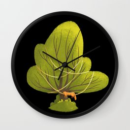 Tree with sleeping cat (black background) Wall Clock
