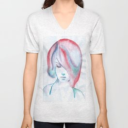 Red Haired Girl Watercolor Unisex V-Neck