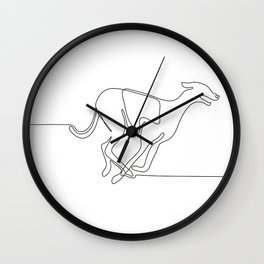 Greyhound Racing Continuous Line Wall Clock