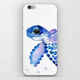 Blue Purple Sea Turtle, Children artwork iPhone Skin