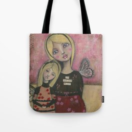With Brave Wings She Flies, Whimsy Folk Art Painting Tote Bag