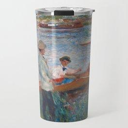 Oarsmen at Chatou Painting by Auguste Renoir Travel Mug