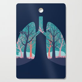 Human lungs with abstract forest inside illustration Cutting Board