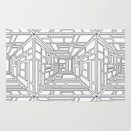 Abstract seamless op art pattern. Monochrome graphic black and white ornament. Striped optical illus Rug