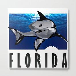 Florida Shark in Deep Blue Metal Print