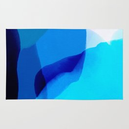 blue winter ice now abstract watercolor Rug