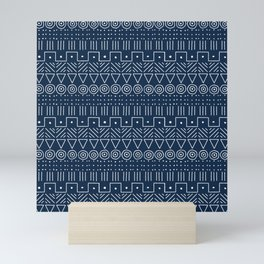 Mudcloth Style 1 in Navy Mini Art Print