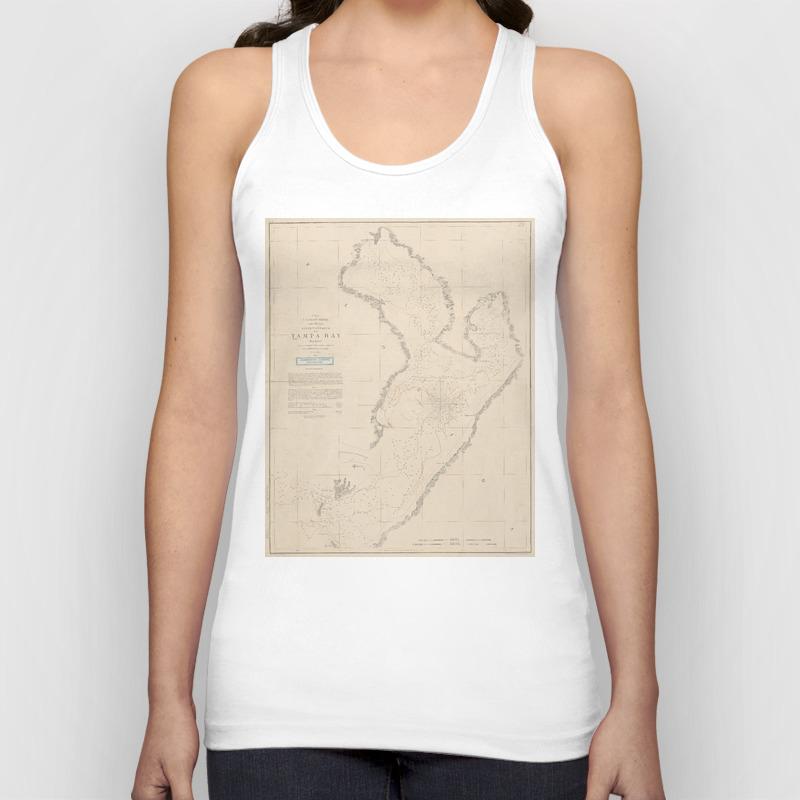 Vintage Map Of Tampa Bay Fl (1855) Unisex Tank Top by Bravuramedia TNK9064384