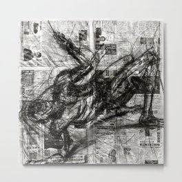 Breaking Loose - Charcoal on Newspaper Figure Drawing Metal Print
