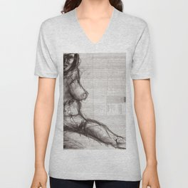 From (Vom) - Charcoal on Newspaper Figure Drawing Unisex V-Neck