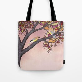 cedar waxwings on the stained glass tree Tote Bag