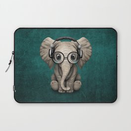 Cute Baby Elephant Dj Wearing Headphones and Glasses on Blue Laptop Sleeve