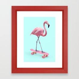 SKATE FLAMINGO Framed Art Print