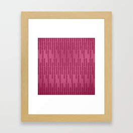 Eye of the Magpie tribal style pattern - raspberry red Framed Art Print