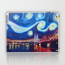 Starry Night in Cologne - Van Gogh Inspirations on River Rhine and Cathedral Laptop & iPad Skin