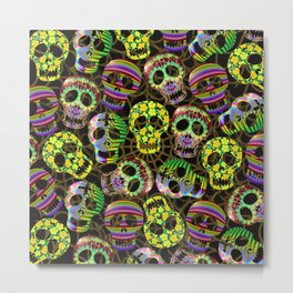 Sugar Skulls Pattern Metal Print