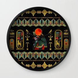 Egyptian Horus Ornament in colored glass and gold Wall Clock
