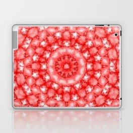 Kaleidoscope Fuzzy Red and White Circular Pattern Laptop & iPad Skin