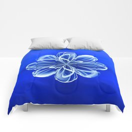 White Bloom on Blue Comforters