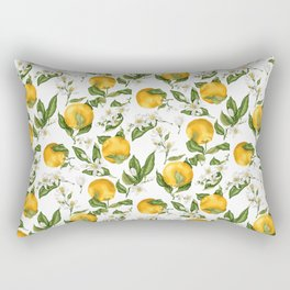 Citrus OrangeTree Branches with Flowers and Fruits Rectangular Pillow