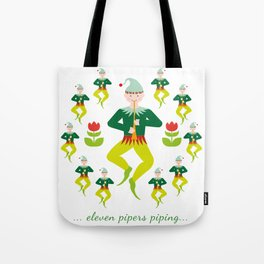 12 Days of Christmas - Eleven Pipers Piping Tote Bag