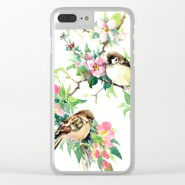 Sparrows and Apple Blossom, spring floral bird art Clear iPhone Case