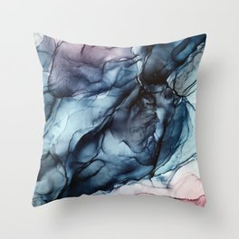 Blush and Darkness Abstract Paintings Throw Pillow