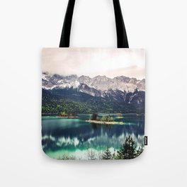 Green Blue Lake and Mountains - Eibsee, Germany Tote Bag