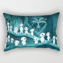 Kodama and the Forest Spirit Rectangular Pillow