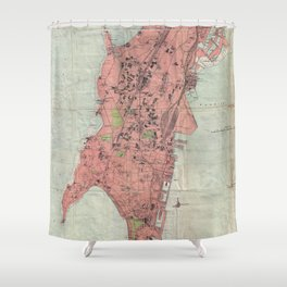 Vintage Map Of Bombay India 1895 Shower Curtain