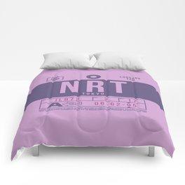Retro Airline Luggage Tag 2.0 - NRT Tokyo Narita Airport Japan Comforters