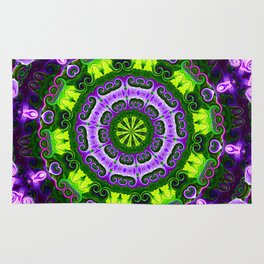 Mandala purple and green Rug