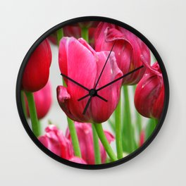 Pink Tulips Wall Clock