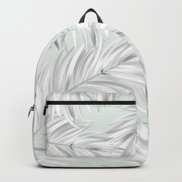 Palm Tree Fronds White on Seafoam Hawaii Tropical Décor Backpack