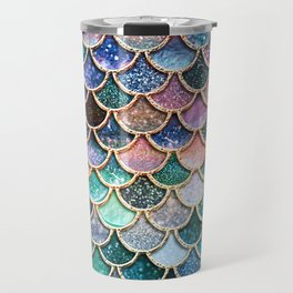 Multicolor Pink And Aqua Mermaid Scales - Beautiful Abstract Glitter Pattern Travel Mug