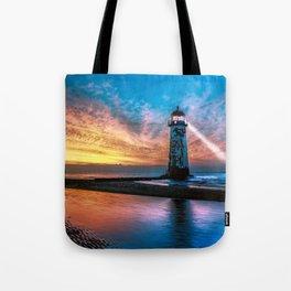 Light House Sunset Tote Bag