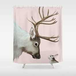 Reindeer and rabbit Shower Curtain